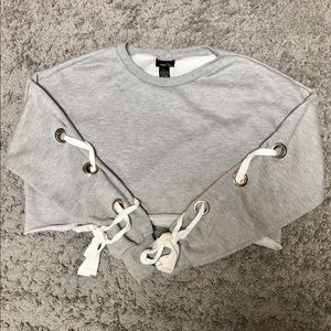 Gray Raw Hem Crop Top with Self Tie Laces